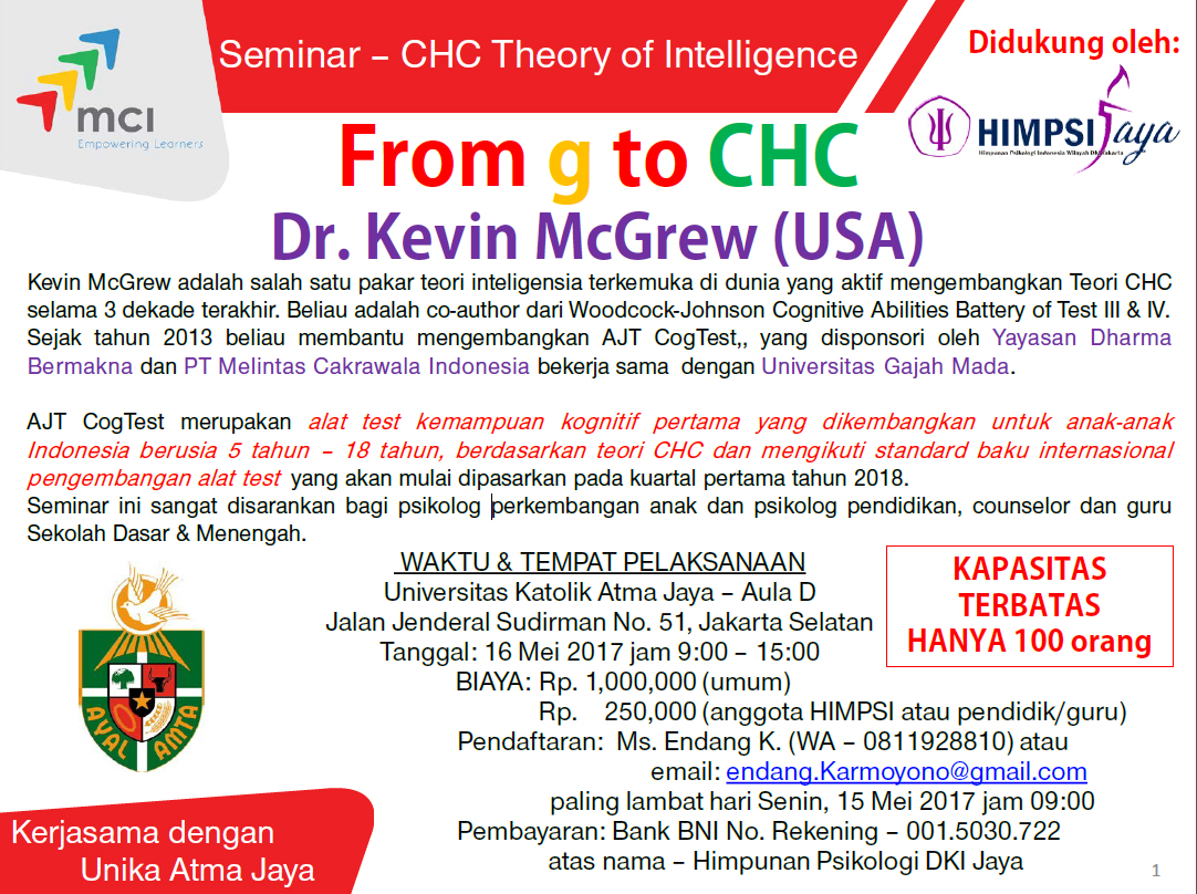 Seminar CHC Theory of Intelligence From g to CHC